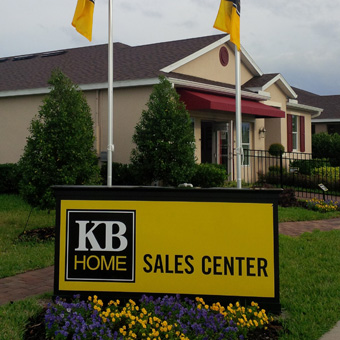 Homebuilder sales center monument sign