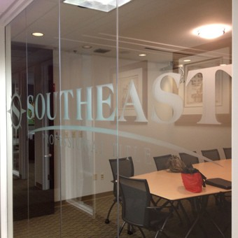 Etched glass lobby logo